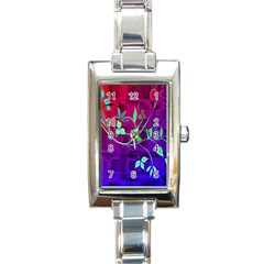 Floral Colorful Rectangular Italian Charm Watch