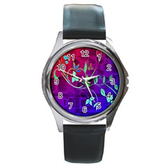 Floral Colorful Round Leather Watch (silver Rim)