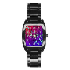 Floral Colorful Stainless Steel Barrel Watch by uniquedesignsbycassie