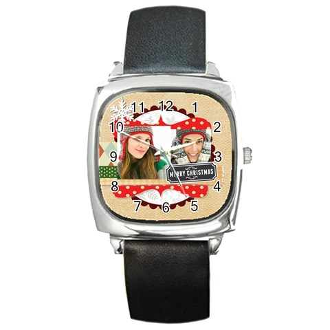 Merry Christmas By Merry Christmas   Square Metal Watch   3dlnw487p3a3   Www Artscow Com Front