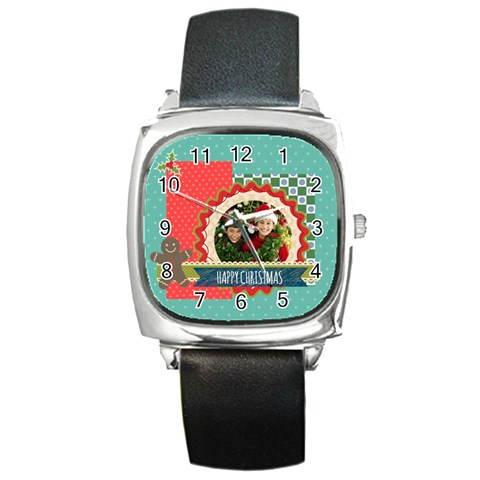 Merry Christmas By Merry Christmas   Square Metal Watch   Tl7bbleidrps   Www Artscow Com Front