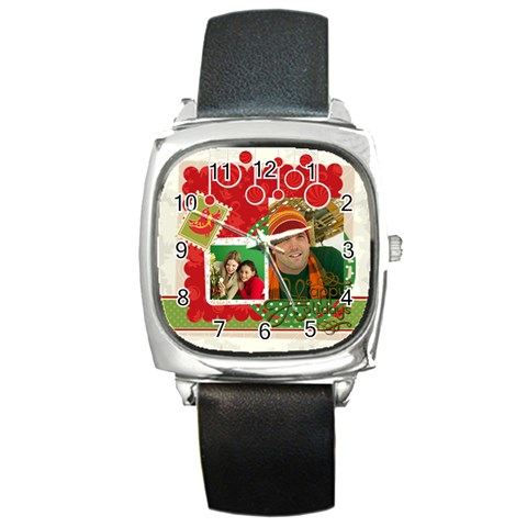 Merry Christmas By Merry Christmas   Square Metal Watch   Vv3dblk0chhd   Www Artscow Com Front
