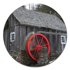 Vermont Christmas Barn Magnet 5  (round) by plainandsimple