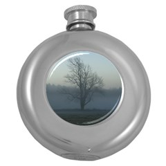 Foggy Tree Hip Flask (round) by plainandsimple