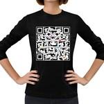 Extraordinary QR Women s Long Sleeve Dark T-Shirt Front