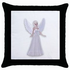 Beautiful Fairy Nymph Faerie Fairytale Black Throw Pillow Case by goldenjackal