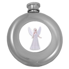 Beautiful Fairy Nymph Faerie Fairytale Hip Flask (round) by goldenjackal