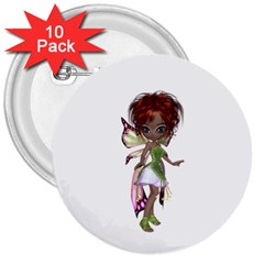 Fairy Magic Faerie In A Dress 3  Button (10 Pack) by goldenjackal