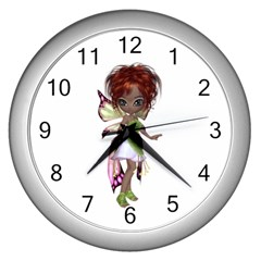 Fairy Magic Faerie In A Dress Wall Clock (silver) by goldenjackal