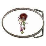 Fairy magic faerie in a dress Belt Buckle (Oval)