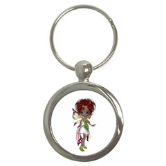 Fairy Magic Faerie In A Dress Key Chain (round) by goldenjackal