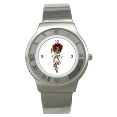 Fairy Magic Faerie In A Dress Stainless Steel Watch (slim) by goldenjackal