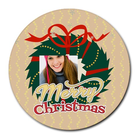 Xmas By Merry Christmas   Round Mousepad   Edh2cscauke5   Www Artscow Com Front