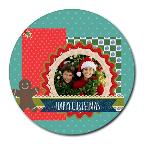 Xmas By Merry Christmas   Round Mousepad   Mltbxn2q9aq8   Www Artscow Com Front