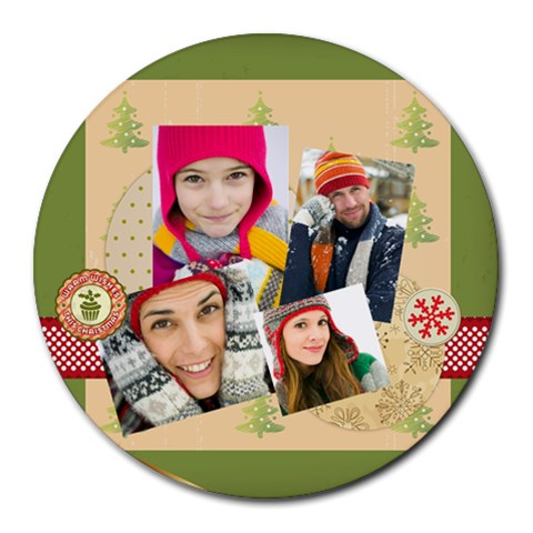 Xmas By Merry Christmas   Round Mousepad   Fvl57ea71p9d   Www Artscow Com Front
