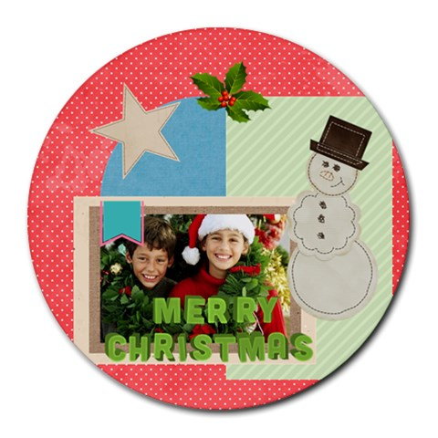 Xmas By Merry Christmas   Round Mousepad   L3p57ivdf9k6   Www Artscow Com Front