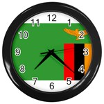 Zambia Flag Wall Clock (Black)