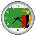 Zambia Flag Wall Clock (Silver)