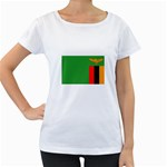 Zambia Flag Maternity White T-Shirt