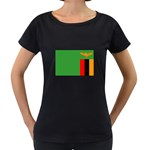 Zambia Flag Maternity Black T-Shirt