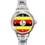 Uganda Flag Round Italian Charm Watch