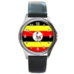 Uganda Flag Round Metal Watch