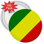 Republic of Congo Flag 3  Button (100 pack)
