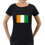 Cote d Ivoire (Ivory Coast) Flag Maternity Black T-Shirt