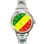 Republic of Congo Flag Round Italian Charm Watch