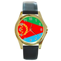 Eritrea Flag Round Gold Metal Watch from ArtsNow.com Front