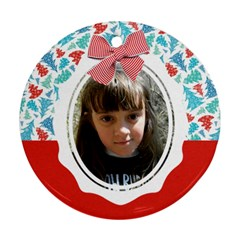 Christmas Chevron Tree Round Ornament (2 Sides) By Mikki   Round Ornament (two Sides)   Hrsqlx7nu42h   Www Artscow Com Front