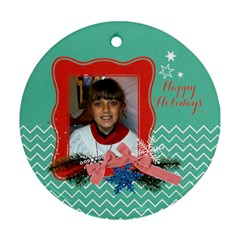 Christmas Chevron Tree Round Ornament (2 Sides) By Mikki   Round Ornament (two Sides)   Hrsqlx7nu42h   Www Artscow Com Back