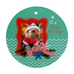 Chevron Christmas  Teal & Red, Round Ornament (2 Sides) By Mikki   Round Ornament (two Sides)   73s1r45z0mon   Www Artscow Com Back