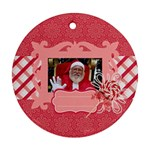 Candy Cane-Santa Round Ornament (2 sides) - Round Ornament (Two Sides)