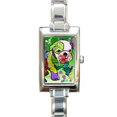 Pug Rectangular Italian Charm Watch by Siebenhuehner