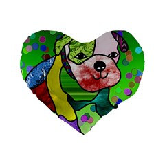 Pug 16  Premium Heart Shape Cushion  by Siebenhuehner