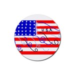 MEAH USA FLAG Rubber Round Coaster (4 pack)