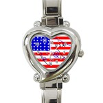 MEAH USA FLAG Heart Italian Charm Watch
