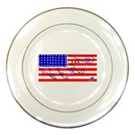 MEAH USA FLAG Porcelain Plate