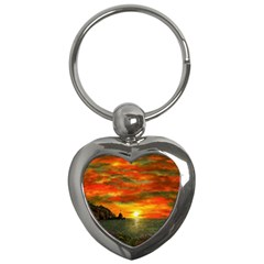 Alyssa s Sunset By Ave Hurley Artrevu   Key Chain (heart) by ArtRave2