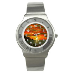 Alyssa s Sunset By Ave Hurley Artrevu   Stainless Steel Watch by ArtRave2