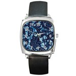 AFRICAN PRINT BLUE WAX Square Metal Watch