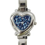 AFRICAN PRINT BLUE WAX Heart Italian Charm Watch