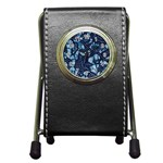 AFRICAN PRINT BLUE WAX Pen Holder Desk Clock