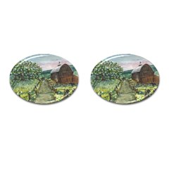 Amish Apple Blossoms  by Ave Hurley of ArtRevu ~ Cufflinks (Oval) by ArtRave2