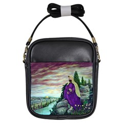 Jesus Overlooking Jerusalem   Ave Hurley   Artrave   Girl s Sling Bag by ArtRave2