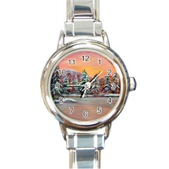 jane s Winter Sunset   By Ave Hurley Of Artrevu   Round Italian Charm Watch by ArtRave2
