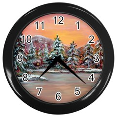 jane s Winter Sunset   By Ave Hurley Of Artrevu   Wall Clock (black) by ArtRave2