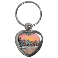jane s Winter Sunset   By Ave Hurley Of Artrevu   Key Chain (heart) by ArtRave2