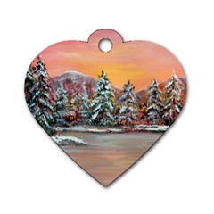 jane s Winter Sunset   By Ave Hurley Of Artrevu   Dog Tag Heart (one Side) by ArtRave2